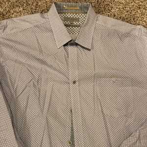 Men's Ted Baker Grey Checkered Button Down